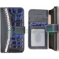 Fashion Croco Book voor Galaxy S3 Mini VE i8200 - Blauw